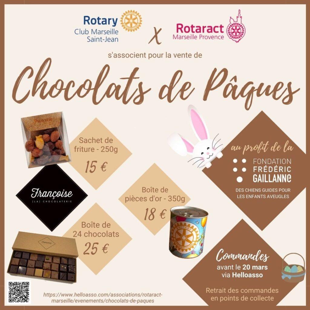 Affiche vente de chocolats de pâques au profit de la Fondation Frédéric Gaillanne